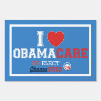 I <Heart> Muestra de la yarda de ObamaCare (tamaño Carteles
