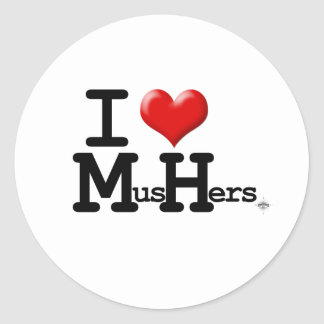 I Heart Mushers Classic Round Sticker