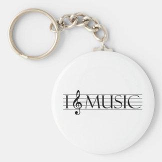i heart music 2 basic round button keychain