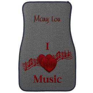 I Heart Music Custom Name Floor Mats