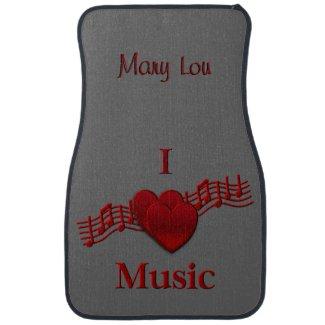 I Heart Music Custom Name Floor Mats Car Mat