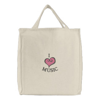 I Heart Music Embroidered Tote Bag