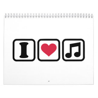 I heart music note calendar