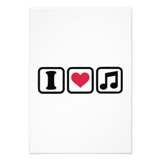 I heart music note custom invitations