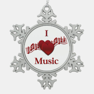 I Heart Music Pewter Snowflake Ornament Ornament