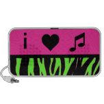 i heart music pink and green zebra print speakers