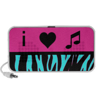 i heart music pink and teal zebra print speakers