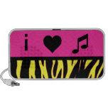 i heart music pink and yellow zebra print speakers