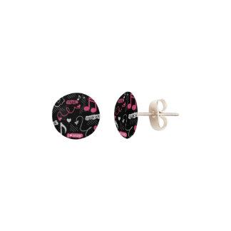 I Heart Music Pink Stud Earrings