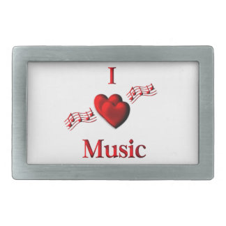 I Heart Music Rectangular Belt Buckle
