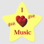 I Heart Music Star Sticker