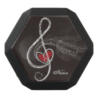 I HEART MUSIC Treble Clef Black Personalized Black Bluetooth Speaker