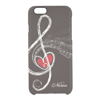 I HEART MUSIC Treble Clef Black Personalized Clear iPhone 6/6S Case