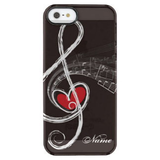 I HEART MUSIC Treble Clef Black Personalized Uncommon Clearly™ Deflector iPhone 5 Case