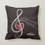I HEART MUSIC Treble Clef Black Personalized Pillows