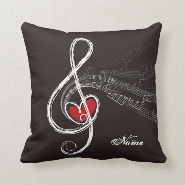 I HEART MUSIC Treble Clef Black Personalized Throw Pillow