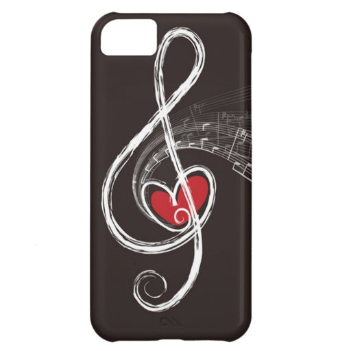 I HEART MUSIC Treble Clef Red Heart Black Cover For iPhone 5C