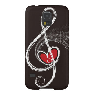 I HEART MUSIC Treble Clef Red Heart Black Galaxy S5 Cover