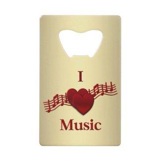 I Heart Music Wallet Bottle Opener