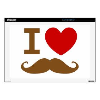 "I heart mustache 17"" laptop decals"