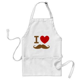 I heart mustache adult apron