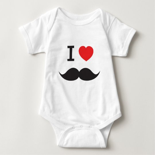 I Heart Mustache Baby Bodysuit