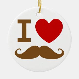 I heart mustache ceramic ornament