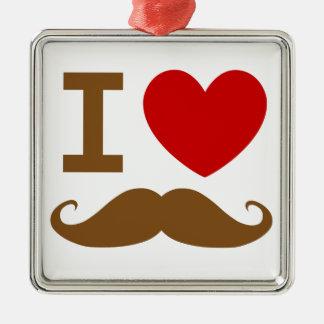 I heart mustache metal ornament