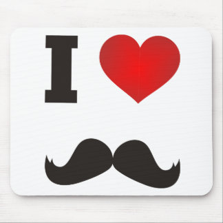 I Heart Mustache Mouse Pad