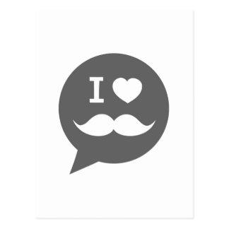 I heart mustache postcard