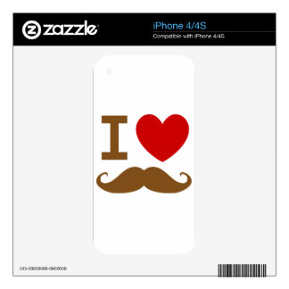 I heart mustache iPhone 4S decal