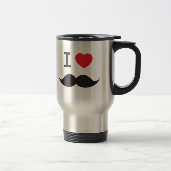 I Heart Mustache Travel Mug