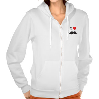 I Heart Mustache Hooded Pullover