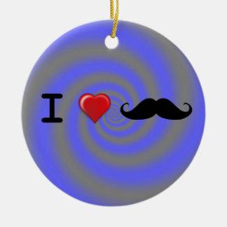 I Heart Mustaches Ceramic Ornament