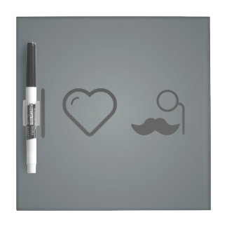 I Heart Mustaches Dry Erase Board