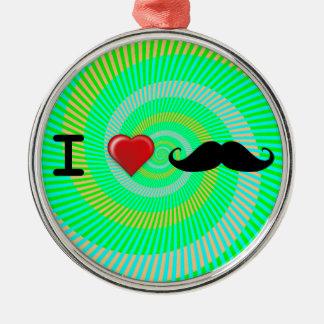 I Heart Mustaches Metal Ornament