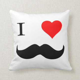 I Heart Mustaches Throw Pillow