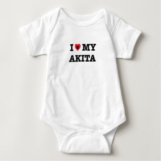 I Heart My Akita Baby Bodysuit