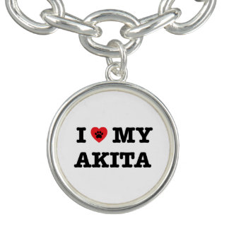 I Heart My Akita Charm Bracelet