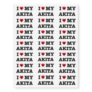 I Heart My Akita Temporary Tattoos