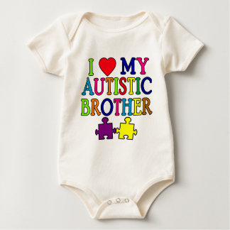 I Heart My Autistic Brother Baby Bodysuit