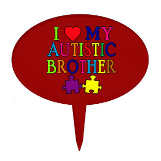 I Heart My Autistic Brother Cake Toppers