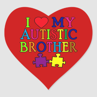 I Heart My Autistic Brother Heart Sticker