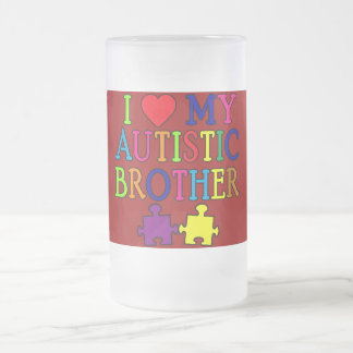 I Heart My Autistic Brother 16 Oz Frosted Glass Beer Mug