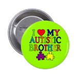 I Heart My Autistic Brother Pinback Button