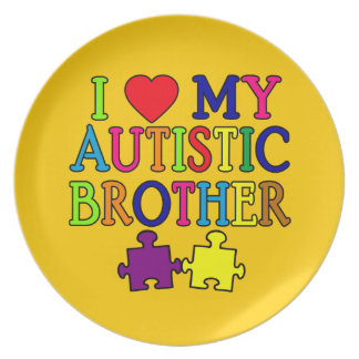 I Heart My Autistic Brother Plates