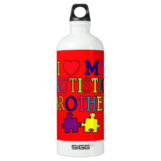 I Heart My Autistic Brother Water Bottle
