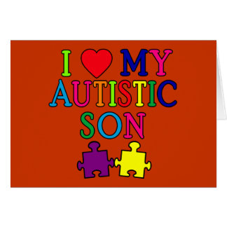 I Heart My Autistic Son Greeting Cards