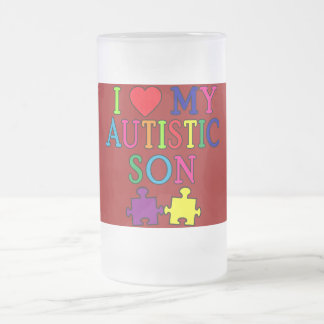 I Heart My Autistic Son 16 Oz Frosted Glass Beer Mug