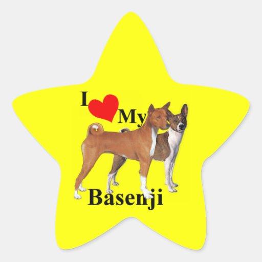 I Heart My Basenji Star Sticker